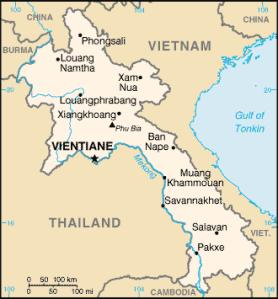 CIA map of Laos.